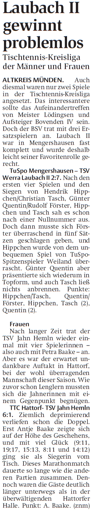 HNA 27.09.2017 - Laubach I und II siegreich im Tischtennis 1