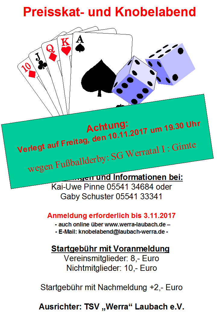 Einladung: Preisskat- und Knobelabend 2017