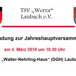 Einladung - Jahreshauptversammlung TSV Werra Laubach